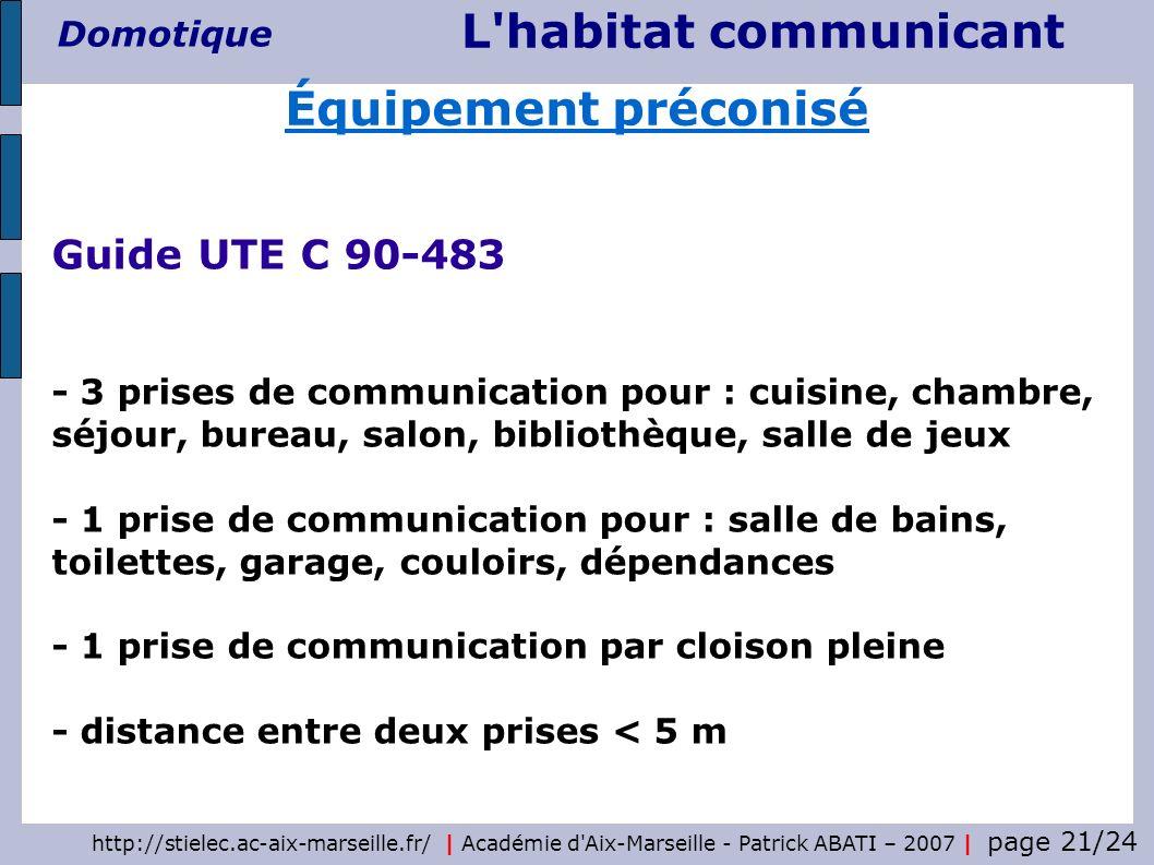 Équipement préconisé Guide UTE C 90-483