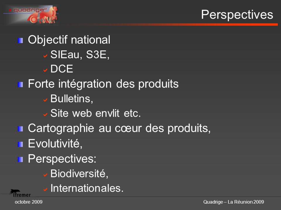 Perspectives Objectif national Forte intégration des produits