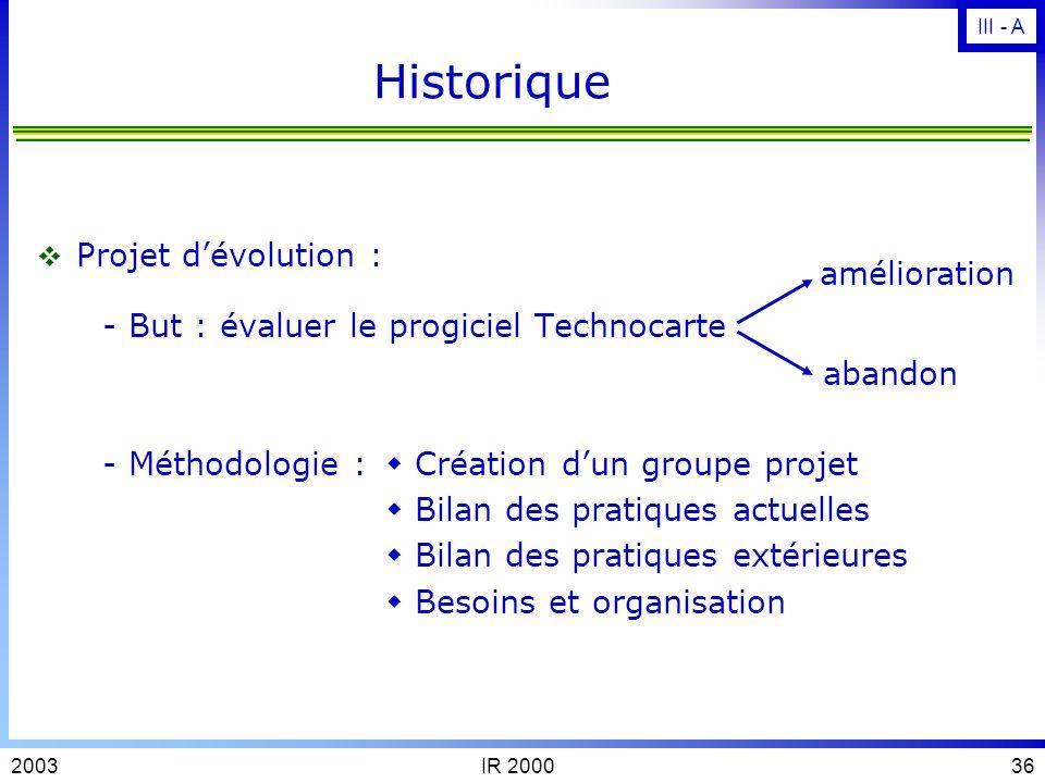 Historique - But : évaluer le progiciel Technocarte