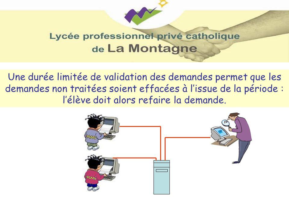 Une durée limitée de validation des demandes permet que les demandes non traitées soient effacées à l'issue de la période : l'élève doit alors refaire la demande.