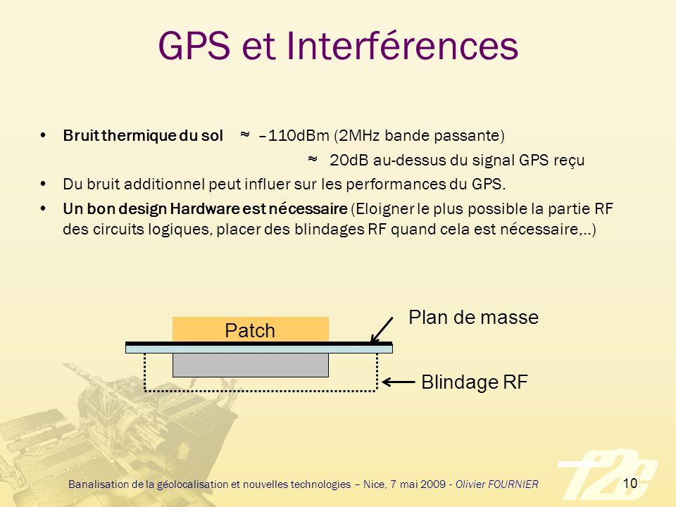 GPS et Interférences Plan de masse Patch Blindage RF
