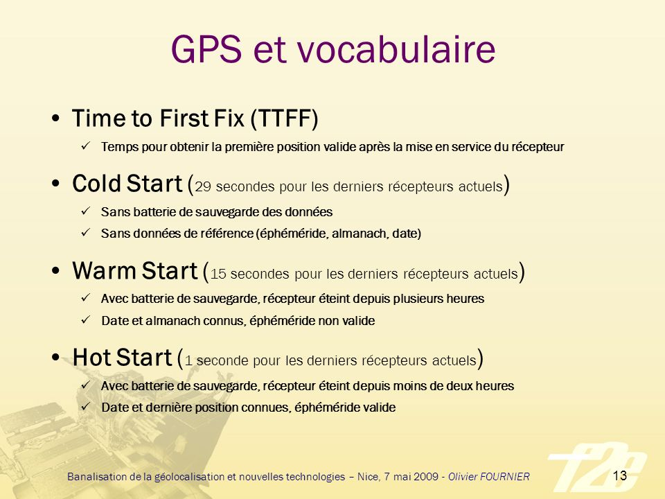 GPS et vocabulaire Time to First Fix (TTFF)