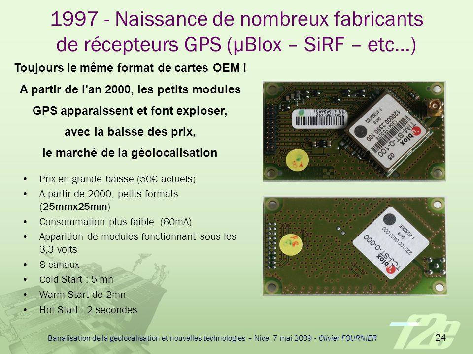 1997 - Naissance de nombreux fabricants de récepteurs GPS (µBlox – SiRF – etc…)