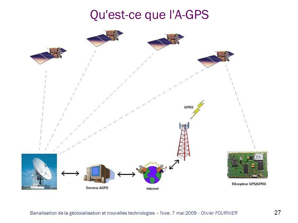 Qu est-ce que l A-GPS Banalisation de la géolocalisation et nouvelles technologies – Nice, 7 mai 2009 - Olivier FOURNIER.