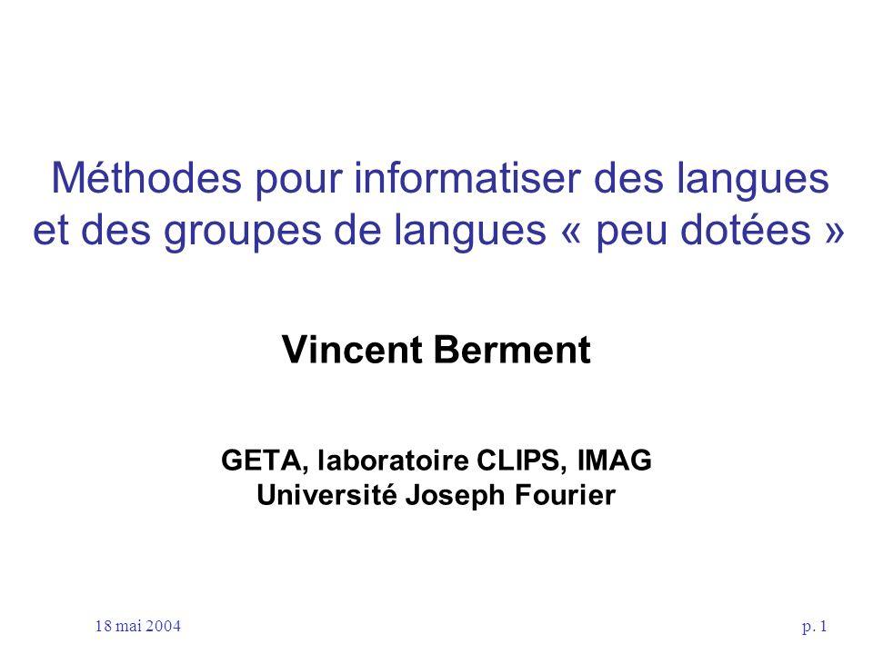 GETA, laboratoire CLIPS, IMAG Université Joseph Fourier