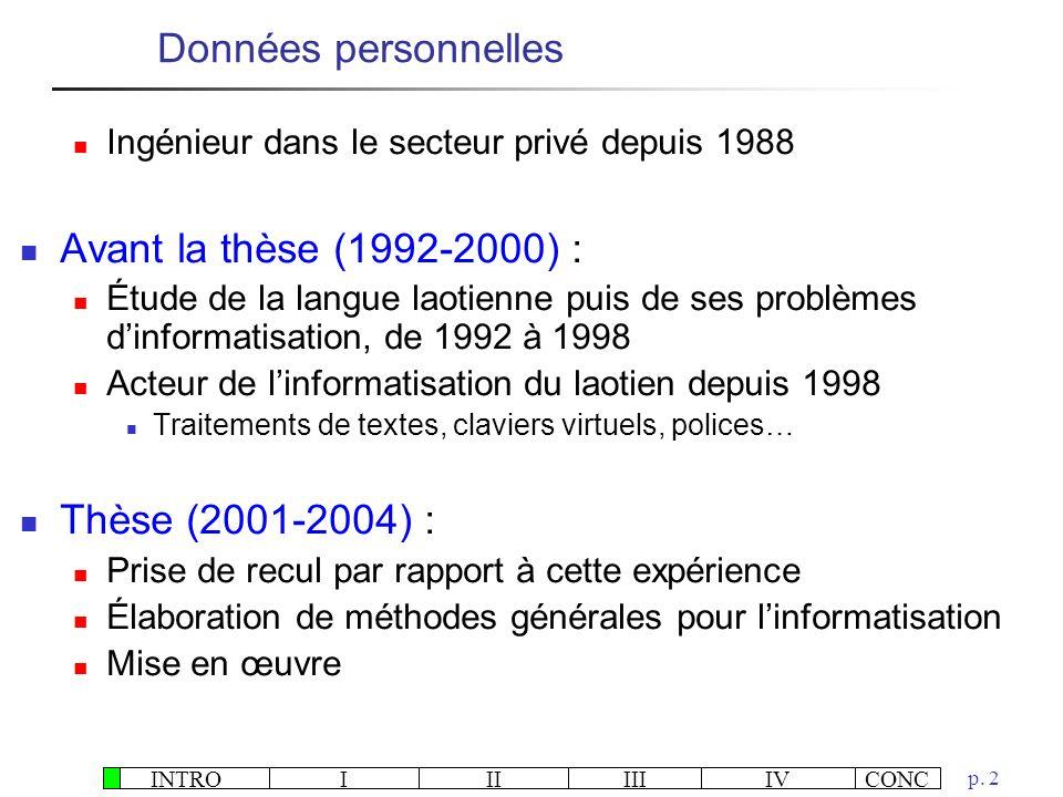 Données personnelles Avant la thèse (1992-2000) : Thèse (2001-2004) :