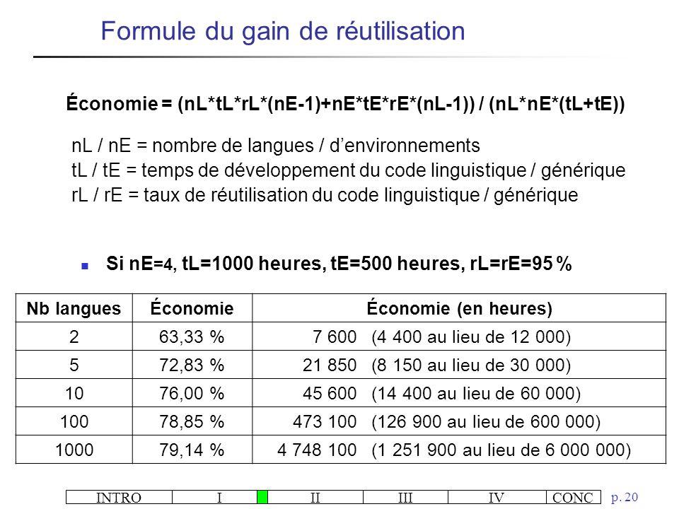 Économie = (nL*tL*rL*(nE-1)+nE*tE*rE*(nL-1)) / (nL*nE*(tL+tE))