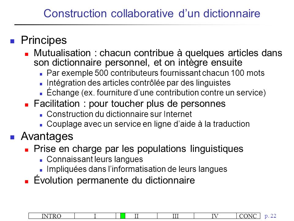 Construction collaborative d'un dictionnaire