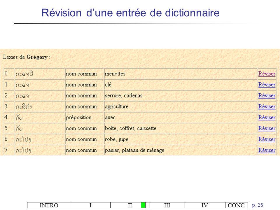 Révision d'une entrée de dictionnaire