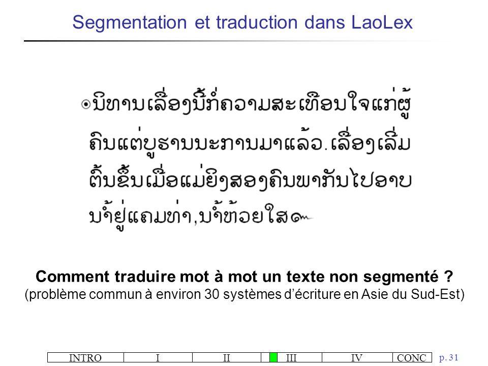 Comment traduire mot à mot un texte non segmenté