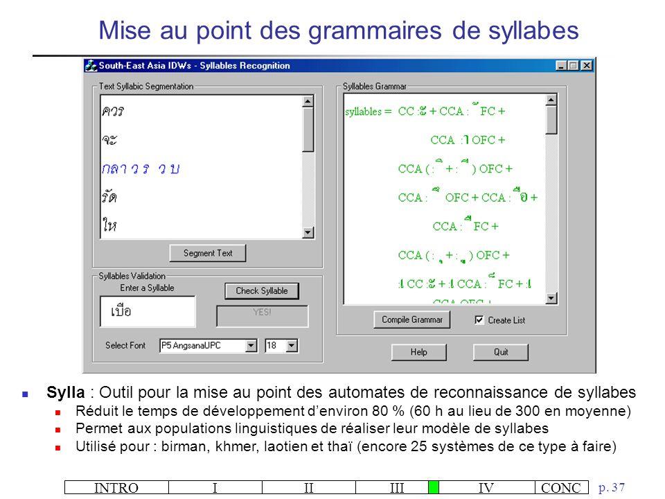 Mise au point des grammaires de syllabes
