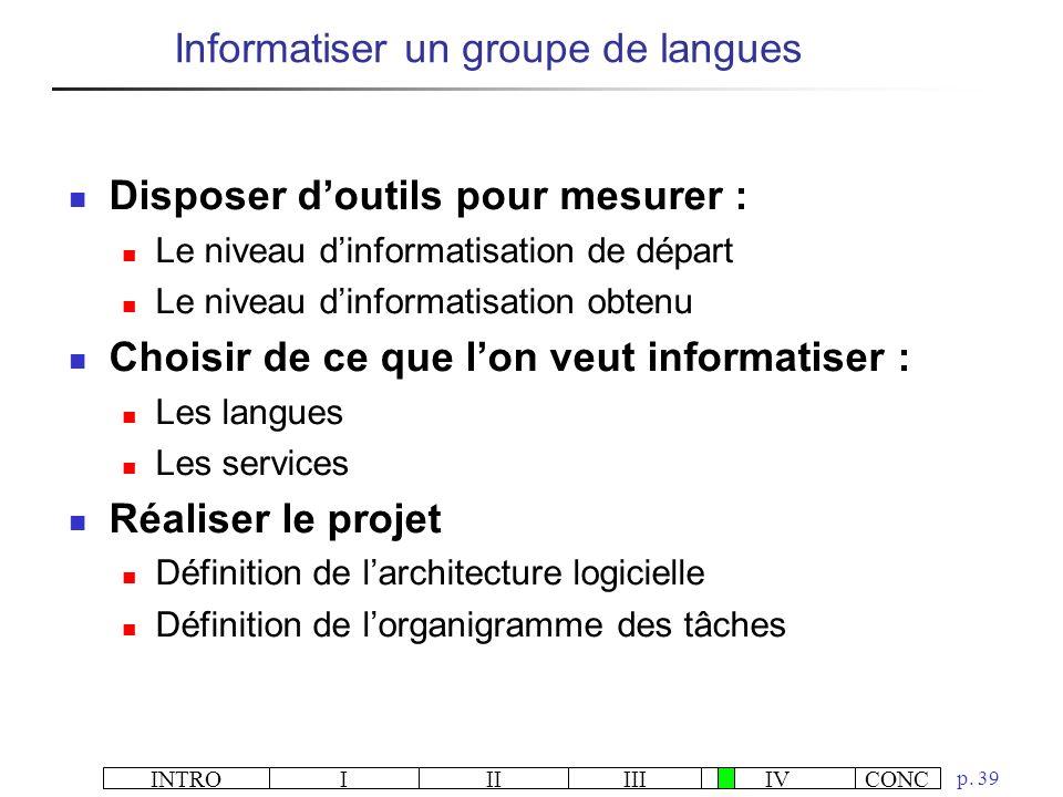 Informatiser un groupe de langues