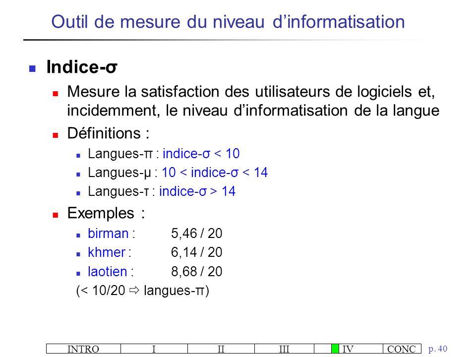 Outil de mesure du niveau d'informatisation