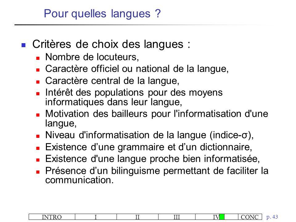 Critères de choix des langues :