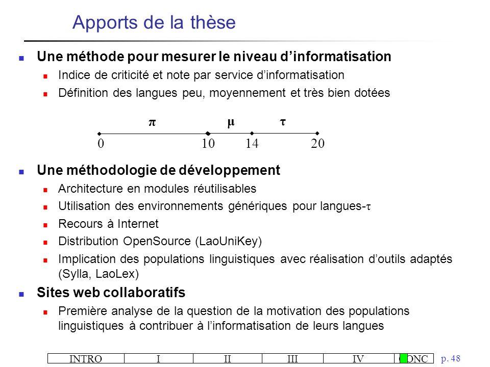 Apports de la thèse Une méthode pour mesurer le niveau d'informatisation. Indice de criticité et note par service d'informatisation.
