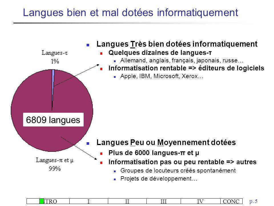 Langues bien et mal dotées informatiquement