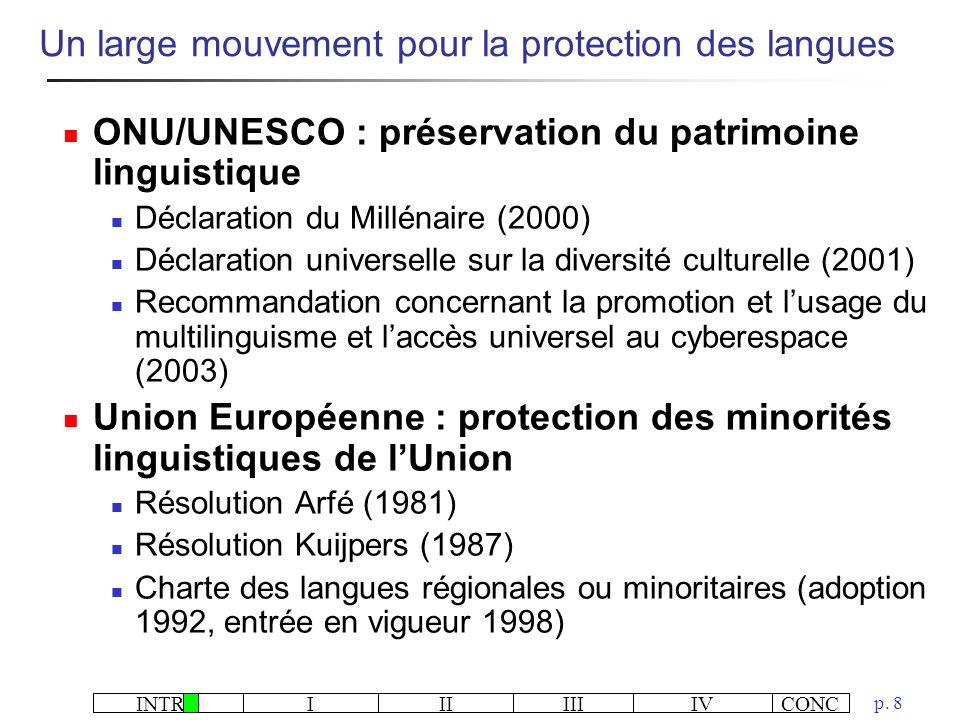 Un large mouvement pour la protection des langues