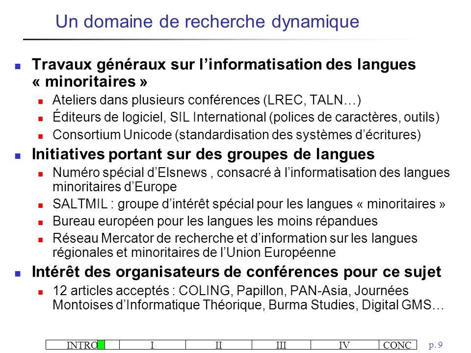 Un domaine de recherche dynamique
