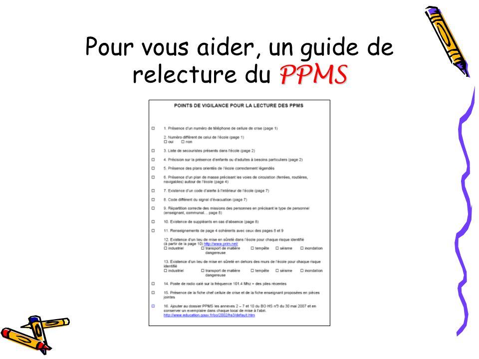 Pour vous aider, un guide de relecture du PPMS