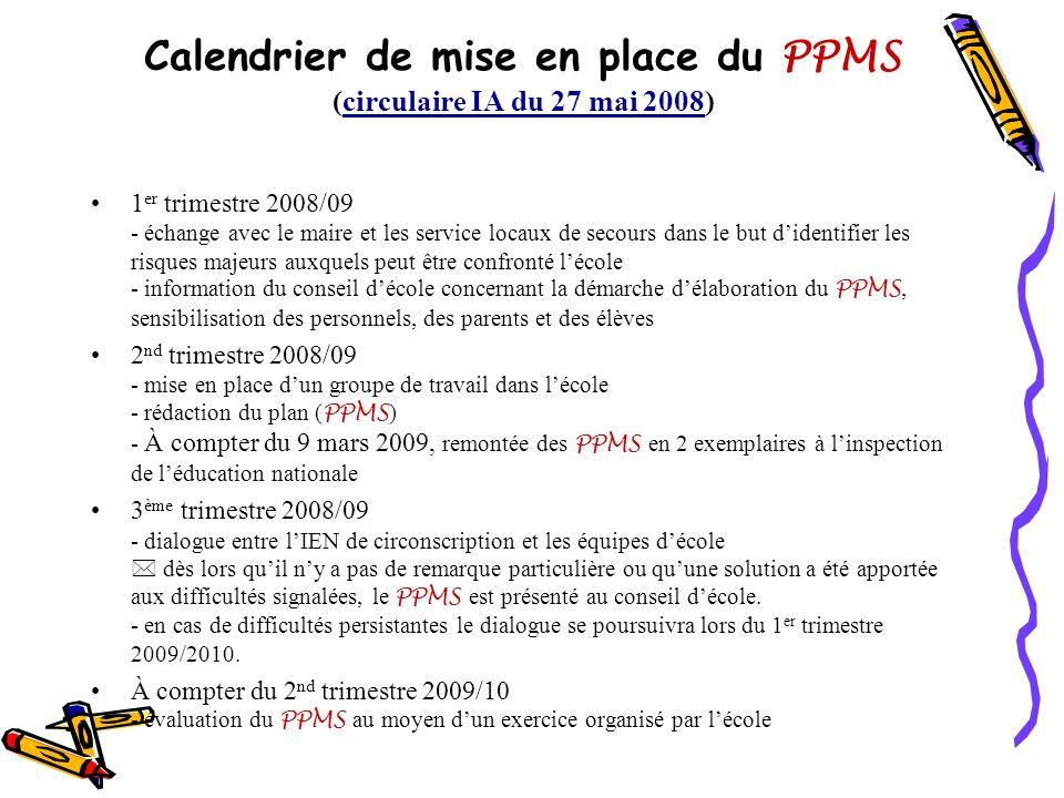 Calendrier de mise en place du PPMS (circulaire IA du 27 mai 2008)