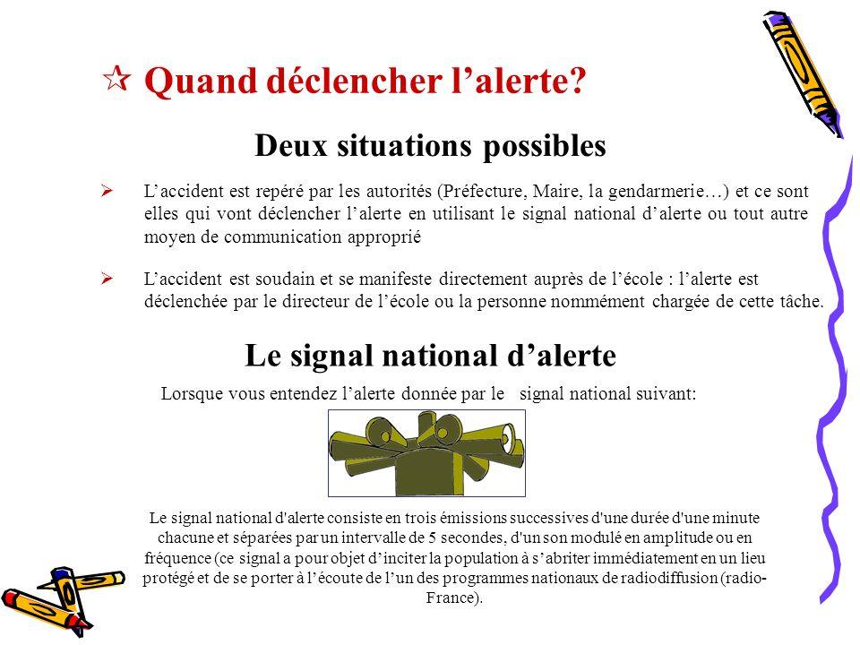 Deux situations possibles Le signal national d'alerte