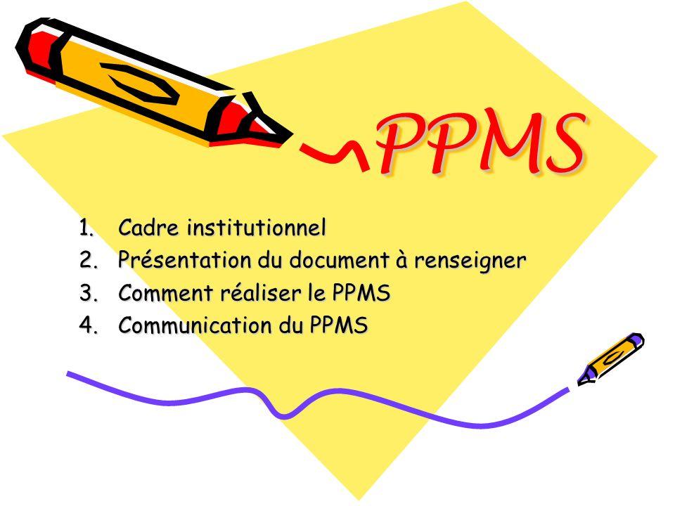 PPMS Cadre institutionnel Présentation du document à renseigner