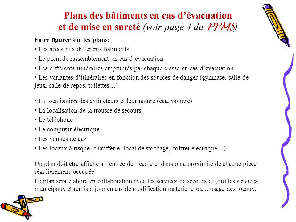 Plans des bâtiments en cas d'évacuation et de mise en sureté (voir page 4 du PPMS)