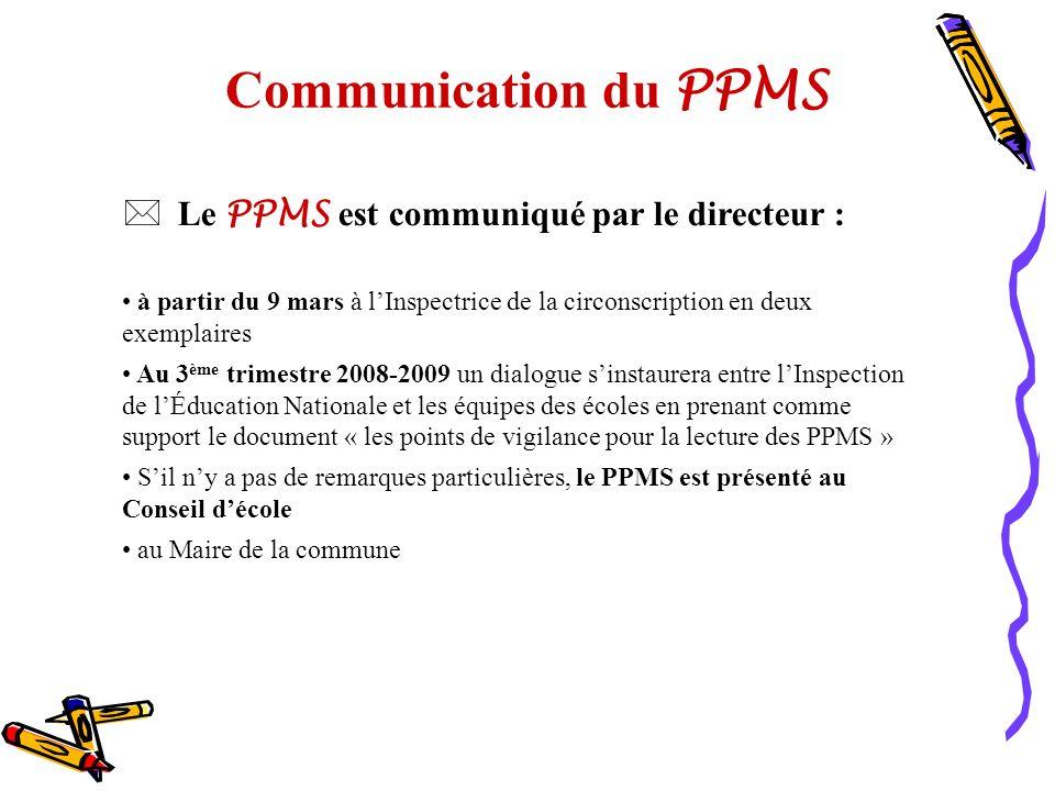 Communication du PPMS Le PPMS est communiqué par le directeur :
