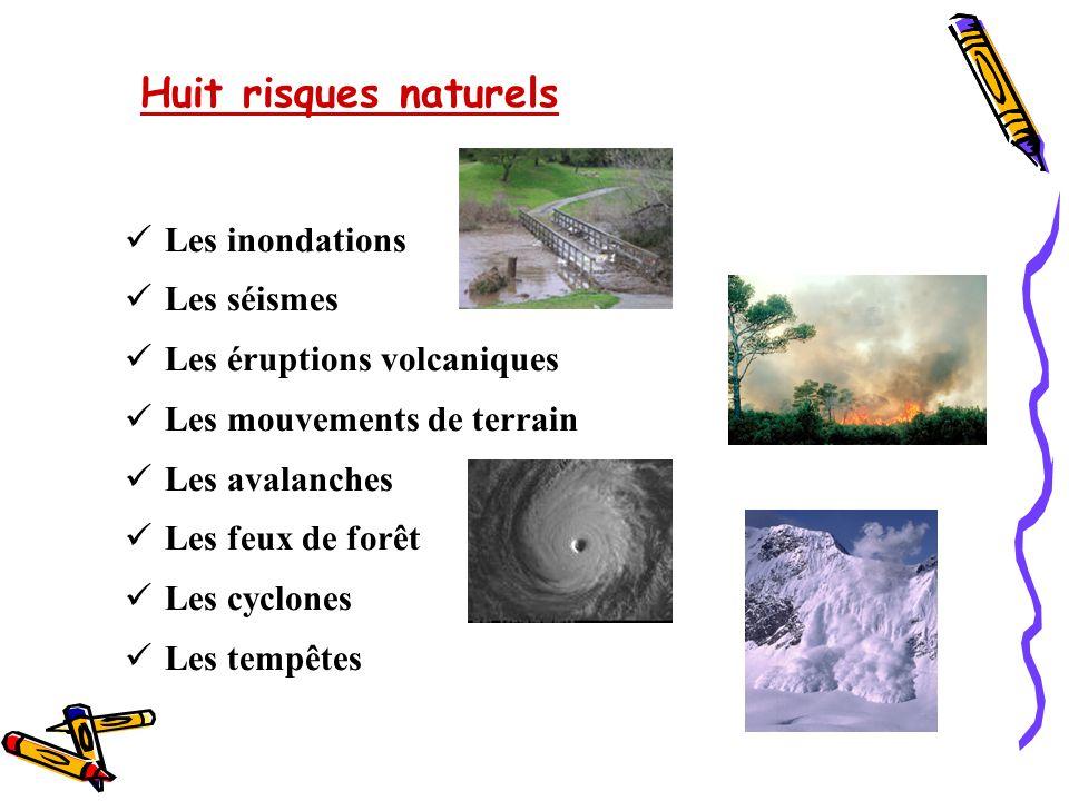 Huit risques naturels Les inondations. Les séismes. Les éruptions volcaniques. Les mouvements de terrain.
