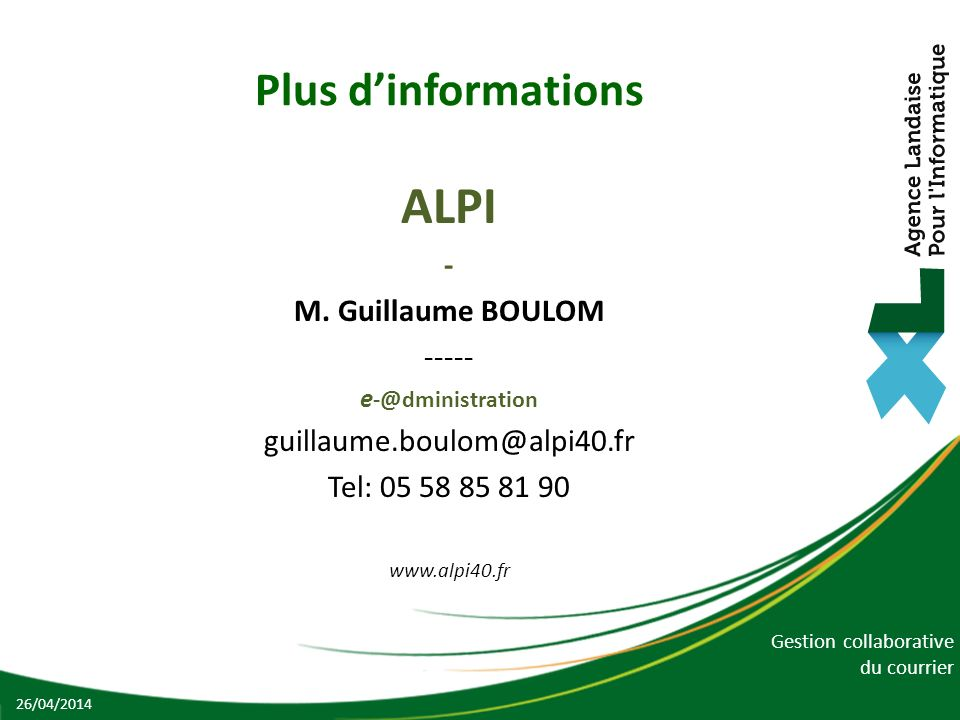 ALPI Plus d'informations - M. Guillaume BOULOM -----
