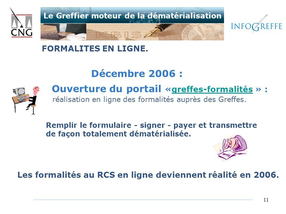 Ouverture du portail «greffes-formalités » :