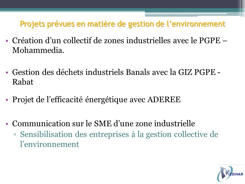 Projets prévues en matière de gestion de l'environnement