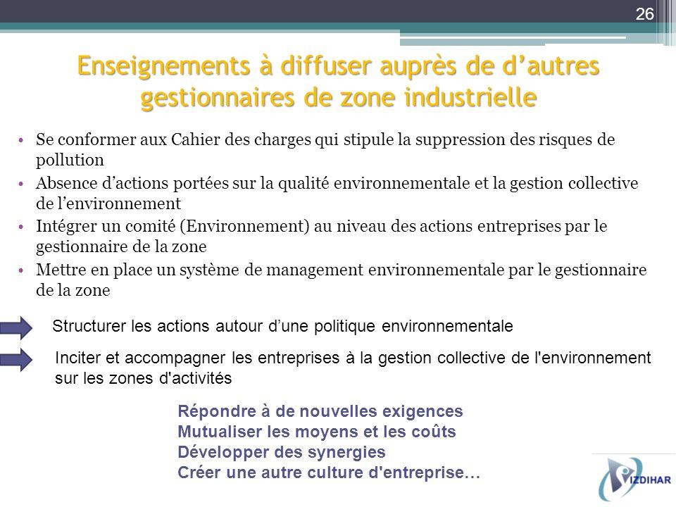 Enseignements à diffuser auprès de d'autres gestionnaires de zone industrielle