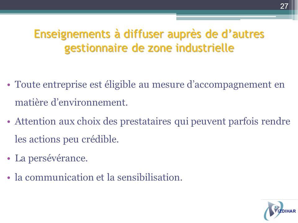 Enseignements à diffuser auprès de d'autres gestionnaire de zone industrielle
