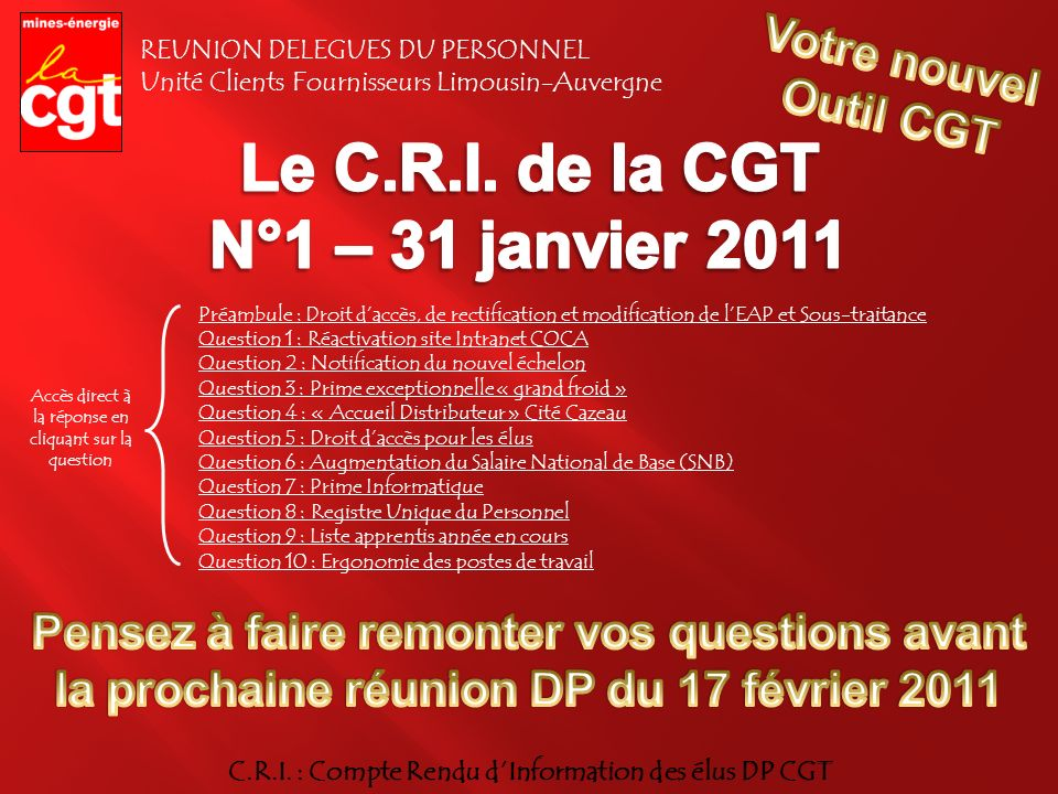 C.R.I. : Compte Rendu d'Information des élus DP CGT