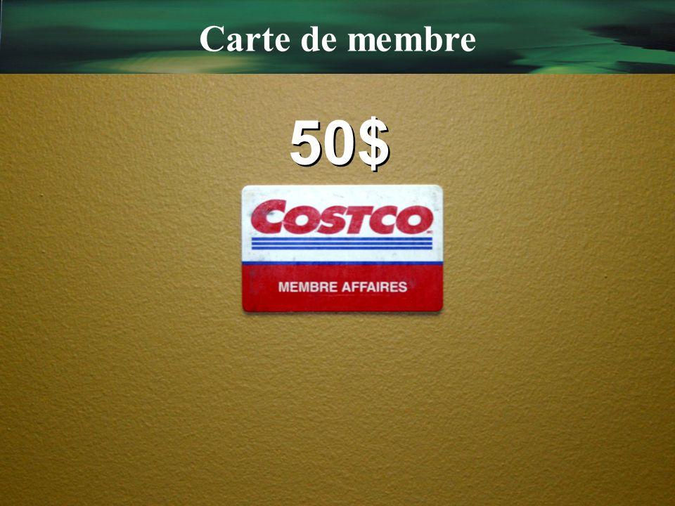Carte de membre 50$