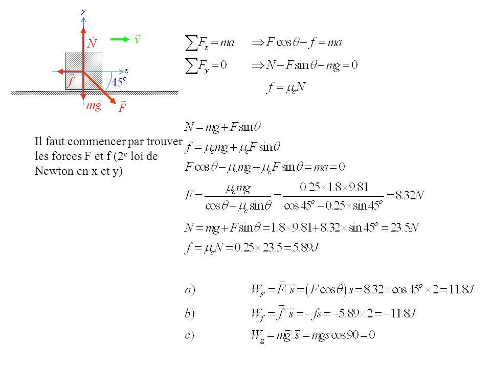Il faut commencer par trouver les forces F et f (2e loi de Newton en x et y)