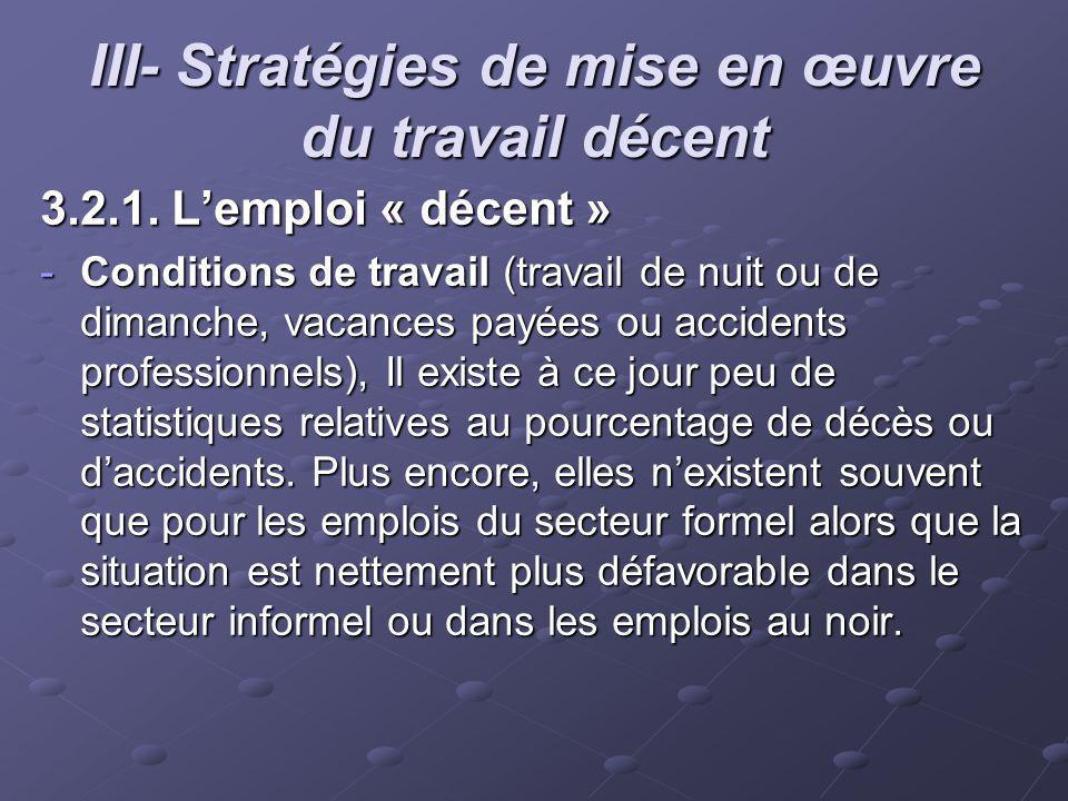 III- Stratégies de mise en œuvre du travail décent