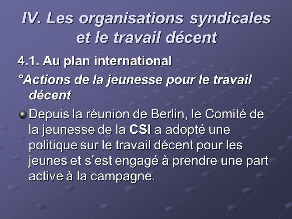 IV. Les organisations syndicales et le travail décent