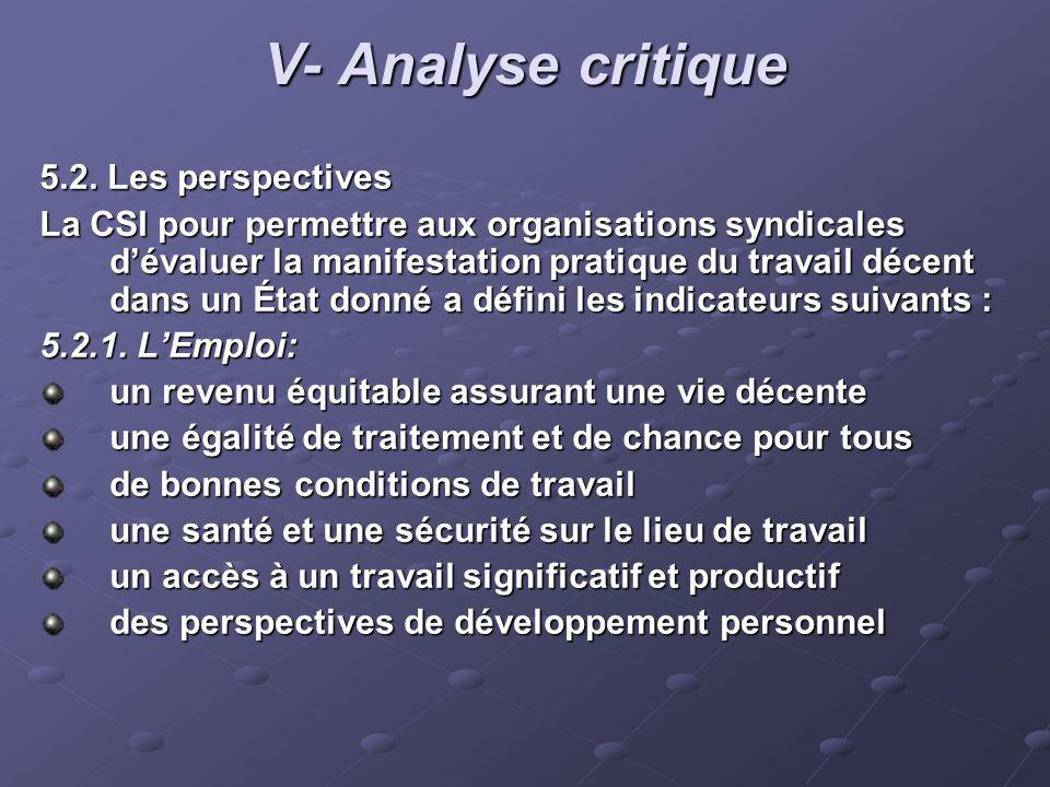 V- Analyse critique 5.2. Les perspectives