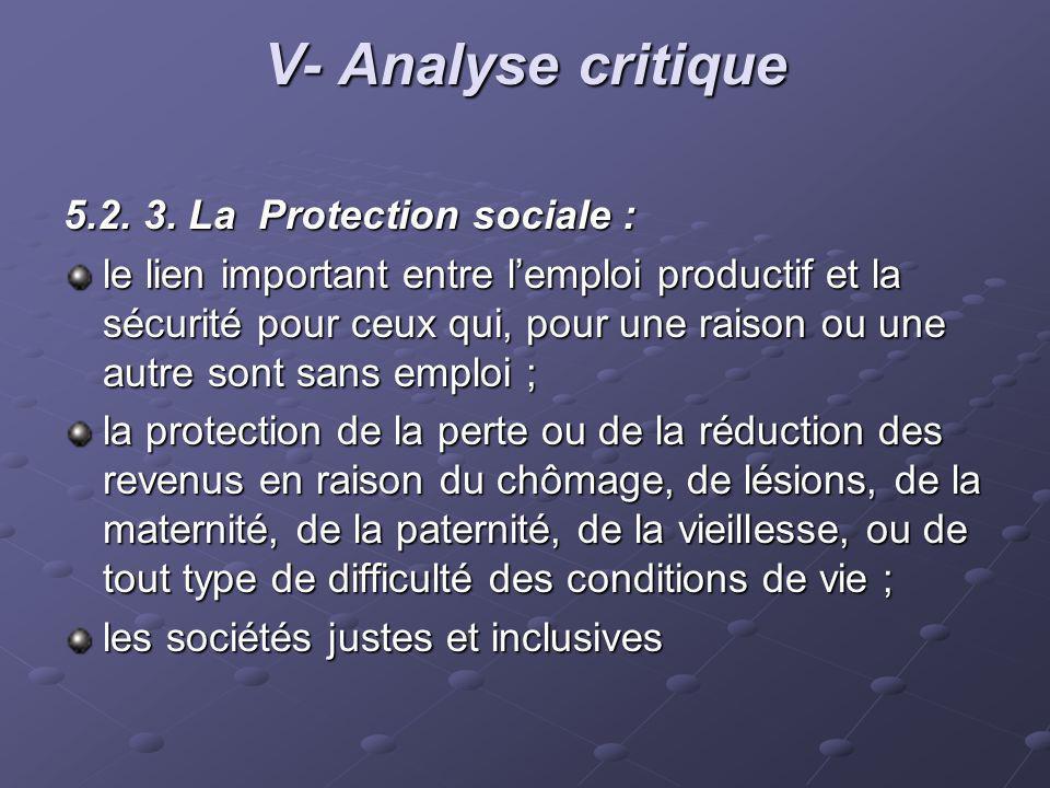 V- Analyse critique 5.2. 3. La Protection sociale :
