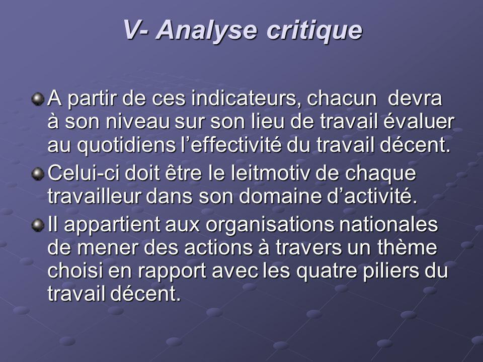V- Analyse critique