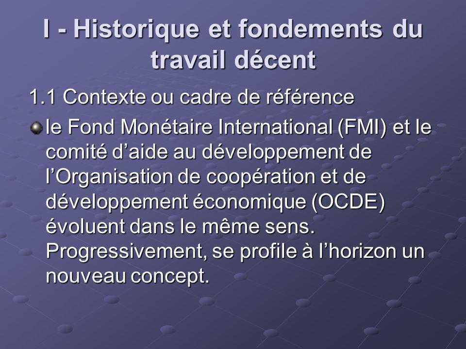 I - Historique et fondements du travail décent