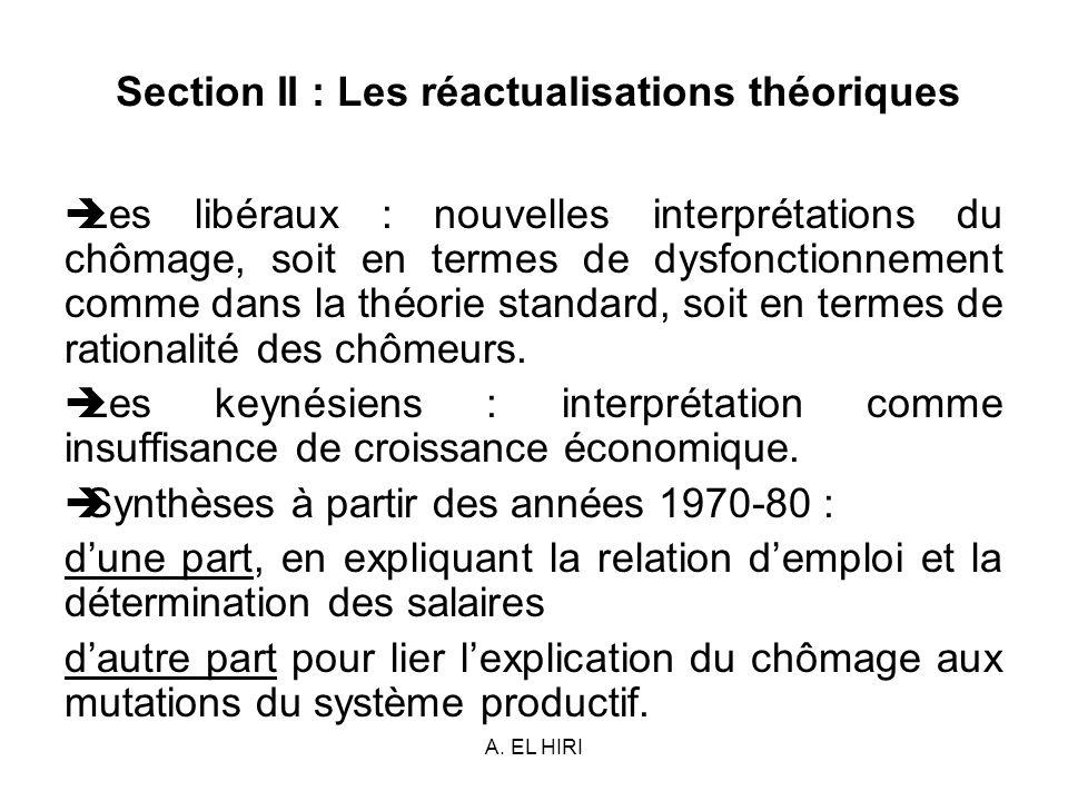 Section II : Les réactualisations théoriques