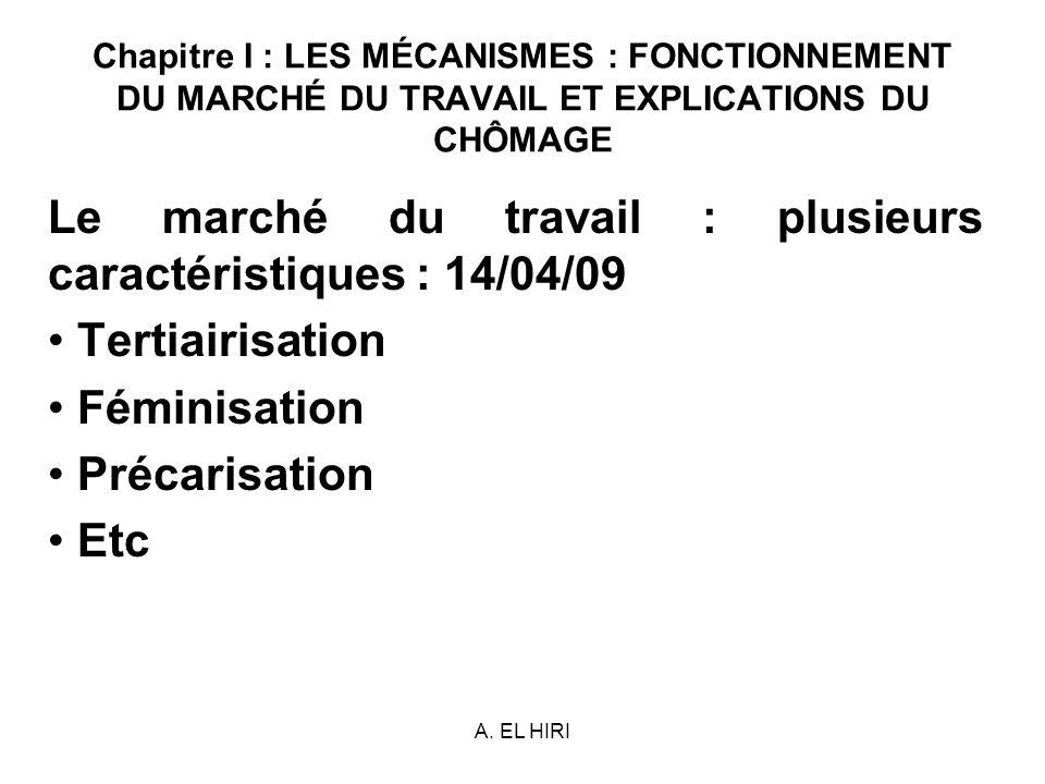 Le marché du travail : plusieurs caractéristiques : 14/04/09