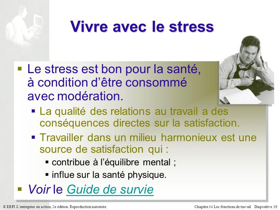 Vivre avec le stress Le stress est bon pour la santé, à condition d'être consommé avec modération.