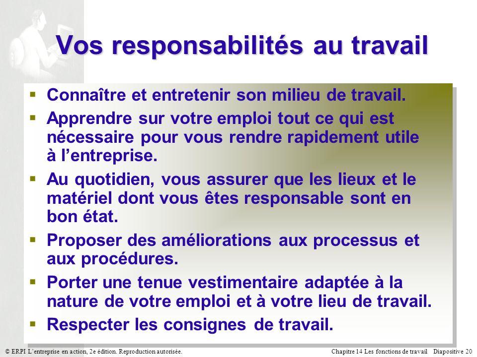 Vos responsabilités au travail