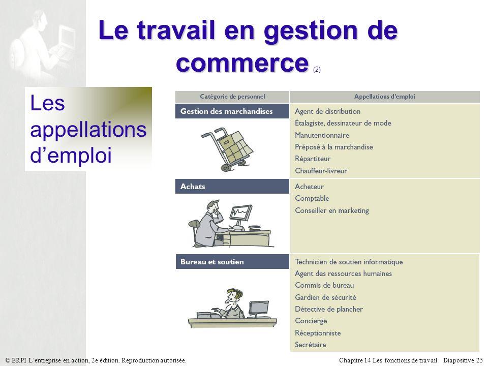 Le travail en gestion de commerce (2)