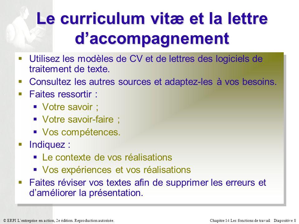 Le curriculum vitæ et la lettre d'accompagnement