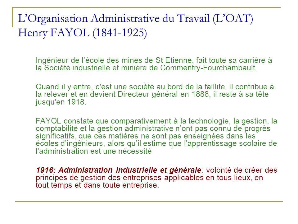 L'Organisation Administrative du Travail (L'OAT) Henry FAYOL (1841-1925)